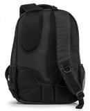 "A back view of a black 1680D Nylon 16"" SmartPack Backpack w/ Fleece Lined Pouch for a Tablet, Ergonomic Ventilated Back Panel, Padded Shoulder Straps & Carry Handle & Exterior Mesh Water-Bottle Pockets"