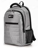 "A silver 1680D Nylon 16"" SmartPack Backpack w/ Fleece Lined Pouch for a Tablet, Ergonomic Ventilated Back Panel, Padded Shoulder Straps & Carry Handle & Exterior Mesh Water-Bottle Pockets"