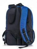 "A back view of royal blue 1680D Nylon 16"" SmartPack Backpack w/ Fleece Lined Pouch for a Tablet, Ergonomic Ventilated Back Panel, Padded Shoulder Straps & Carry Handle & Exterior Mesh Water-Bottle Pockets"