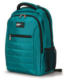 "A teal 1680D Nylon 16"" SmartPack Backpack w/ Fleece Lined Pouch for a Tablet, Ergonomic Ventilated Back Panel, Padded Shoulder Straps & Carry Handle & Exterior Mesh Water-Bottle Pockets"