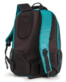 "A back view of a teal 1680D Nylon 16"" SmartPack Backpack w/ Fleece Lined Pouch for a Tablet, Ergonomic Ventilated Back Panel, Padded Shoulder Straps & Carry Handle & Exterior Mesh Water-Bottle Pockets"