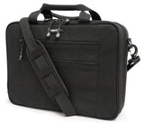"A black all-natural cotton canvas 16""-17"" Eco-Friendly Laptop Briefcase w/ padded computer compartment & adjustable detachable shoulder strap."