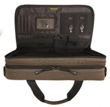 "An open view of an all-natural cotton canvas 16""-17"" Eco-Friendly Laptop Briefcase w/ padded computer compartment & adjustable detachable shoulder strap."