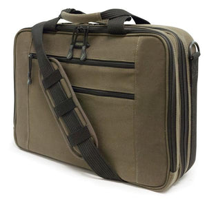 "An olive all-natural cotton canvas 16""-17"" Eco-Friendly Laptop Briefcase w/ padded computer compartment & adjustable detachable shoulder strap."