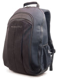 "A black all-natural cotton canvas 17.3"" Eco-Friendly Laptop Backpack w/ padded computer compartment & adjustable shoulder straps, Removable ID Holder w/ Multiple Anchor Locations"