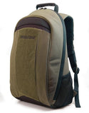 "An olive all-natural cotton canvas 17.3"" Eco-Friendly Laptop Backpack w/ padded computer compartment & adjustable shoulder straps, Removable ID Holder w/ Multiple Anchor Locations"