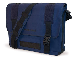 "A navy all-natural cotton canvas 17"" Eco-Friendly Laptop Messenger Bag w/ padded computer compartment, adjustable detachable shoulder strap, Padded Back Panel, Rubberized Handle, Full-Size Back Pocket"
