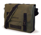 "An olive all-natural cotton canvas 17"" Eco-Friendly Laptop Messenger Bag w/ padded computer compartment, adjustable detachable shoulder strap, Padded Back Panel, Rubberized Handle, Full-Size Back Pocket"