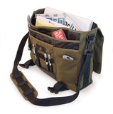 "An open olive all-natural cotton canvas 17"" Eco-Friendly Laptop Messenger Bag w/ padded computer compartment, adjustable detachable shoulder strap, Padded Back Panel, Rubberized Handle, Full-Size Back Pocket"