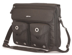 "A black nylon & RipStop accented 15.4"" Messenger Bag by the silver grommets, pockets on the exterior & padded computer section."