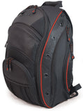 "A black 16""-17"" EVO Laptop Backpack w/ red trim, sixteen interior & exterior pockets. Mesh padded back-panel & shoulder straps & ruggedized bottom panel"