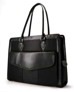 "A black women's 17.3"" Geneva MicroFiber Women's Briefcase w/ faux-leather trim, Safety Cell computer protection compartment, Exterior cell phone pocket, Detachable cosmetics clutch"
