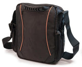 "Back view of black 1680D Ballistic Nylon 13.3"" Mini Messenger Bag w/ orange trim, padded compartments for tablet / electronic devices, Mobile Phone Pocket & Side Mesh Water Bottle Pocket"
