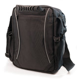 "Back view of black 1680D Ballistic Nylon 13.3"" Mini Messenger Bag w/ silver trim, padded compartments for tablet / electronic devices, Mobile Phone Pocket & Side Mesh Water Bottle Pocket"