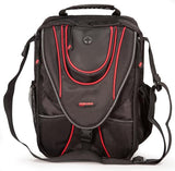 "A black 1680D Ballistic Nylon 13.3"" Mini Messenger Bag w/ red trim, padded compartments for tablet / electronic devices, Mobile Phone Pocket & Side Mesh Water Bottle Pocket"