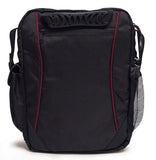 "Back view of black 1680D Ballistic Nylon 13.3"" Mini Messenger Bag w/ red trim, padded compartments for tablet / electronic devices, Mobile Phone Pocket & Side Mesh Water Bottle Pocket"