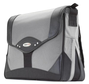"A black & silver 15.4"" Premium Laptop Messenger Bag w/ padded compartments for tablet or other electronic devices. 2"" Zippered Expansion Gusset that adds 40% more storage space."
