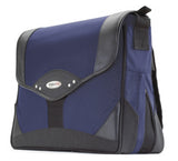 "A black and navy 15.4"" Premium Laptop Messenger Bag w/ padded compartments for tablet or other electronic devices. 2"" Zippered Expansion Gusset that adds 40% more storage space."