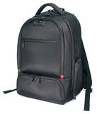 "A black ballistic nylon 16""-17"" Professional Laptop Backpack w/ 4 separate storage sections, padded air-mesh shoulder straps & back panel, padded top carry handle, adjustable & padded laptop compartment for 13"" to 16"" laptops & zippered front organizer section."