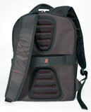 "A back view of black ballistic nylon 16""-17"" Professional Laptop Backpack w/ 4 separate storage sections, padded air-mesh shoulder straps & back panel, padded top carry handle, adjustable & padded laptop compartment for 13"" to 16"" laptops & zippered front organizer section."
