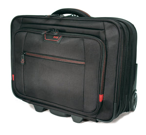 "A black 13""-17.3"" Professional Rolling Laptop briefcase made from ballistic nylon. Includes 5-stage telescoping handle, a padded top carry, in-line skate wheels, trolley strap for stacking on other luggage. Also has adjustable, padded laptop compartment, separate fleece lined pouch for an iPad, tablet or e-reader, a large file section, oversized compartment & zippered front organizer section."