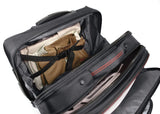 "An open black 13""-17.3"" Professional Rolling Laptop briefcase made from ballistic nylon. Includes 5-stage telescoping handle, a padded top carry, in-line skate wheels, trolley strap for stacking on other luggage. Also has adjustable, padded laptop compartment, separate fleece lined pouch for an iPad, tablet or e-reader, a large file section, oversized compartment & zippered front organizer section."