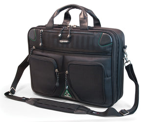 "A black eco 16""-17"" Checkpoint Friendly ScanFast Briefcase 2.0 w/ scan fast laptop compartment & front compartments. Padded shoulder straps & multiple compartments inside."