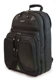 "A black eco 17"" Checkpoint Friendly ScanFast Backpack 2.0 w/ padded shoulder straps & multiple compartments inside."