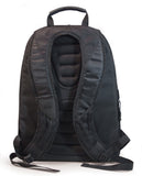 "A back view of a black eco 17"" Checkpoint Friendly ScanFast Backpack 2.0 w/ padded shoulder straps & multiple compartments inside."