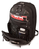 "An open black eco 17"" Checkpoint Friendly ScanFast Backpack 2.0 w/ padded shoulder straps & multiple compartments inside."