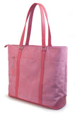 "A pink faux-suede 15""-17.3"" Breast Cancer Awareness Tote w/ removable computer section for dual functionality. Detachable accessory/cosmetic purse."