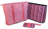 "An open pink faux-suede 15""-17.3"" Breast Cancer Awareness Tote w/ removable computer section for dual functionality. Detachable accessory/cosmetic purse. Shows striped insert."