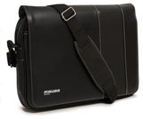 "A black 14""-15"" Slimline Chromebook / Ultrabook Messenger bag w/ Koskin outer-shell material w/ contrast stitching & perforated accent panels. Has padded pockets for both 14.1"" Ultrabook & an iPad or other popular tablet. Space for files & accessories, interior zippered pocket, full-length exterior pocket plus organizer, adjustable shoulder strap w/ polished nickel fittings."