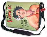 "This is a green 15.4"" Maddie Powers Pulp Fiction Messenger bag w/ pulp magazine images from the 40s and 50s on the front, built-in cell phone pouch & interior pockets, plush velveteen trim & a cushioned shoulder strap."