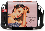 "This is a pink 14.1"" Maddie Powers Pulp Fiction Laptop Bag w/ pulp magazine images doubles as a tote bag w/ removable laptop sleeve, soft velveteen trim & old Hollywood style."