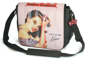 "A pink 14.1"" Maddie Powers Pulp Fiction Laptop Bag w/ pulp magazine images doubles as a tote bag w/ removable laptop sleeve, soft velveteen trim & old Hollywood style."