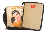 "This is a peach 14.1"" Maddie Powers Pulp Fiction Laptop Bag w/ pulp magazine images doubles as a tote bag w/ removable laptop sleeve, soft velveteen trim & old Hollywood style. Shows separate laptop sleeve."