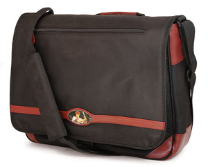 "A black 15.4"" Maddie Powers Retro Baseball Messenger. The Messenger bag's exterior icon baseball image is that of a sports pulp magazine from the 40's & 50's while the actual vintage magazine cover is printed on the inside lining. On the exterior is a sports icon enamel badge."