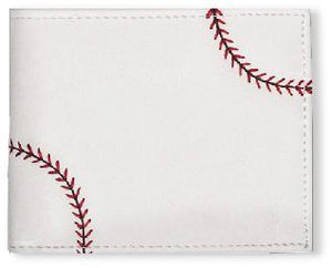 This is a white square men's baseball wallet w/ red baseball stitching made of real Baseball material.