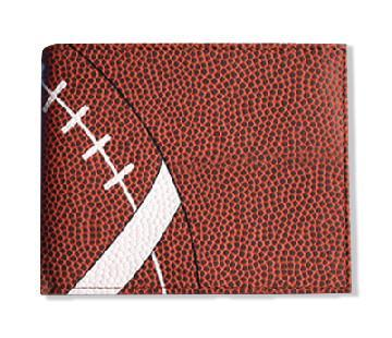 A brown men's bifold football wallet made w/ real football leather.