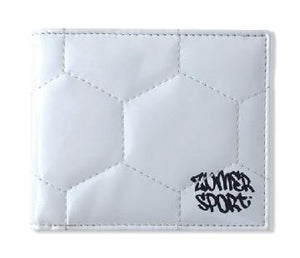 A white men's soccer bifold wallet made of real Soccer ball material.