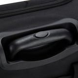"A black 15"" rolling underseat bag w/ USB port. Telescopic handle, open side pocket"