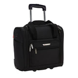 "A black 15"" rolling underseat bag w/ USB port, Telescopic handle, open side pocket"