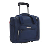 "A navy 15"" rolling underseat bag w/ USB port, Telescopic handle, open side pocket"
