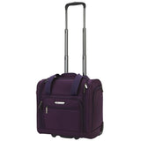 "A purple 15"" rolling underseat bag w/ USB port. Telescopic handle, open side pocket"