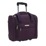 "A purple 15"" rolling underseat bag w/ USB port, Telescopic handle, open side pocket"