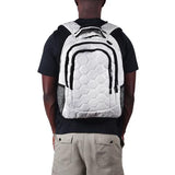 A man wearing white soccer backpack w/ black trim made of real soccer ball material.