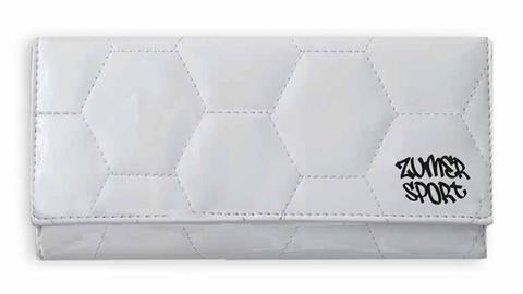 A women's white soccer bifold snap wallet made of real Soccer ball material.