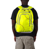 A man wearing a yellow Softball Sport Backpack made of genuine softball material w/ red stitching.