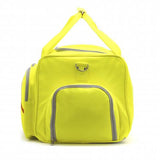 Side of yellow Softball Sport Duffel Bag w/ padded shoulder strap made of actual softball leather w/ red softball stitching.